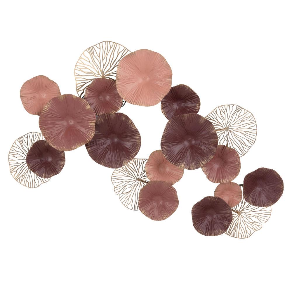 Déco murale en métal rose, bronze et violet 71x47