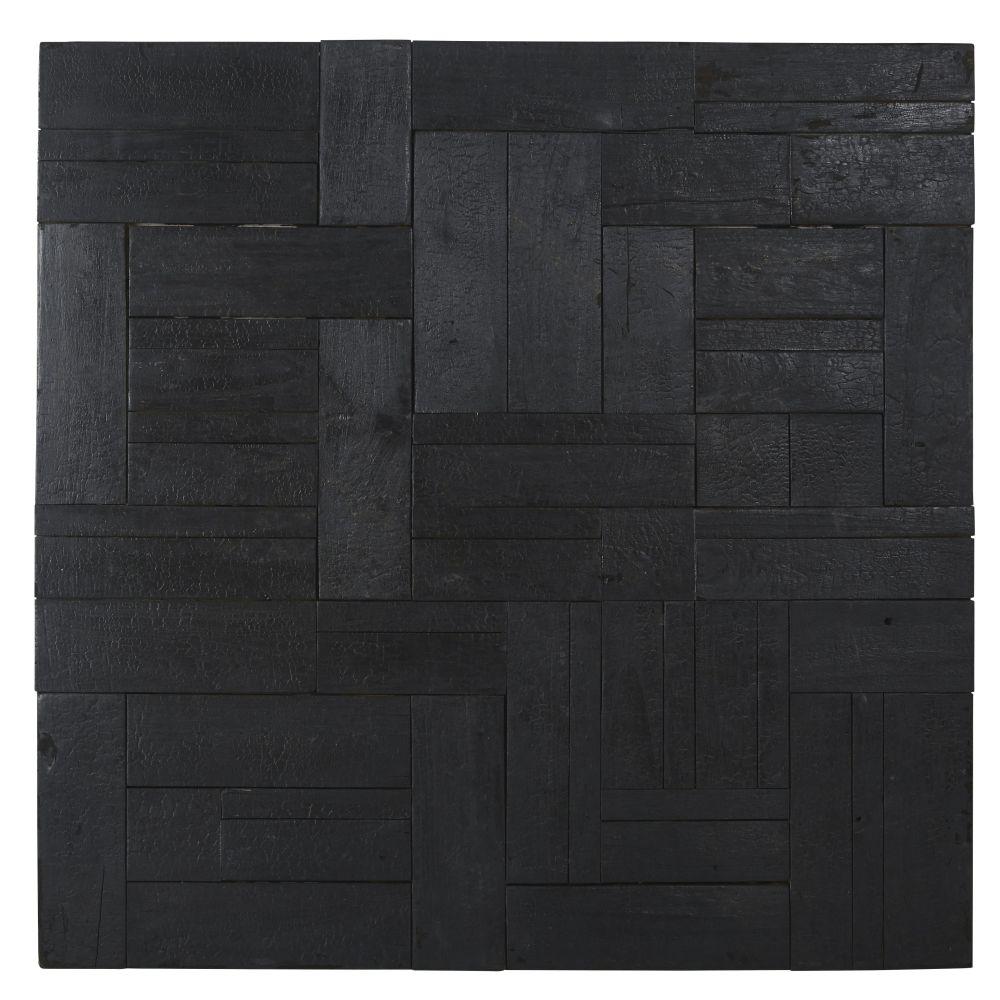 Déco murale en teck recyclé noir 89x90