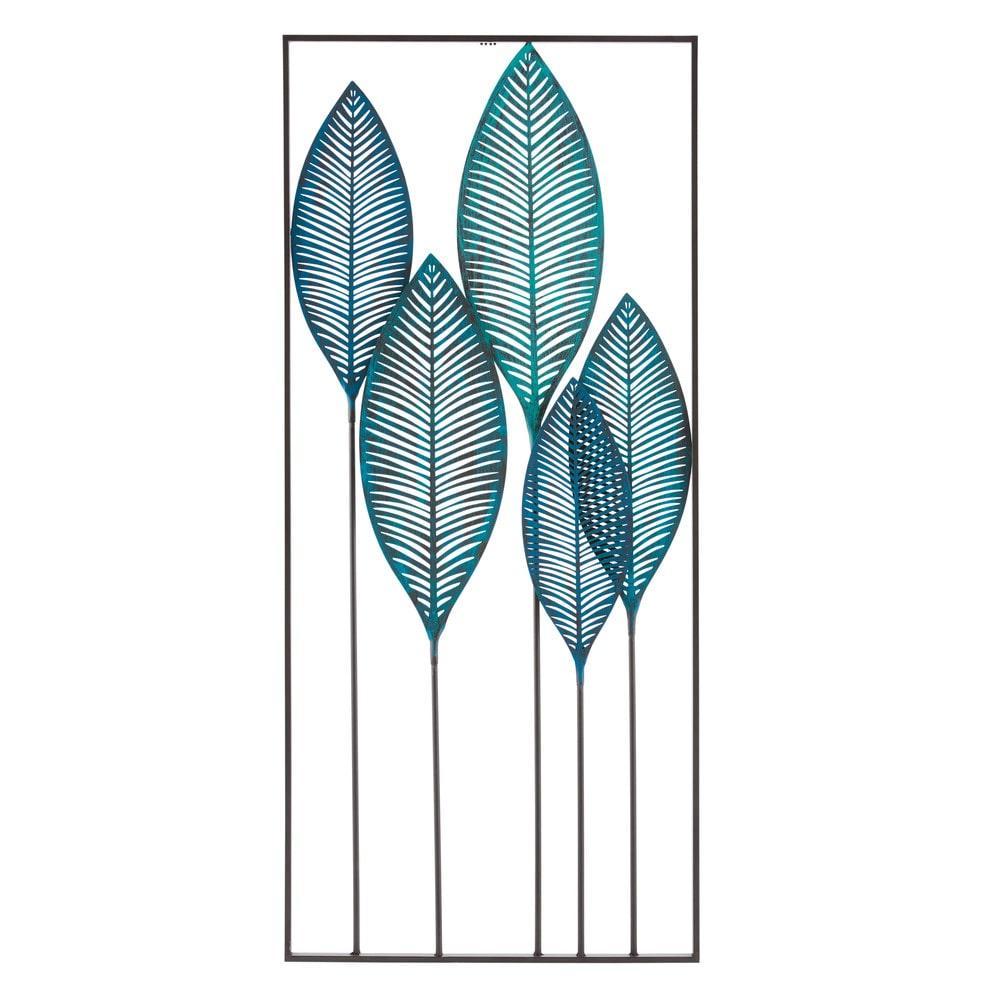 Déco murale feuillage en métal bleu 60x136