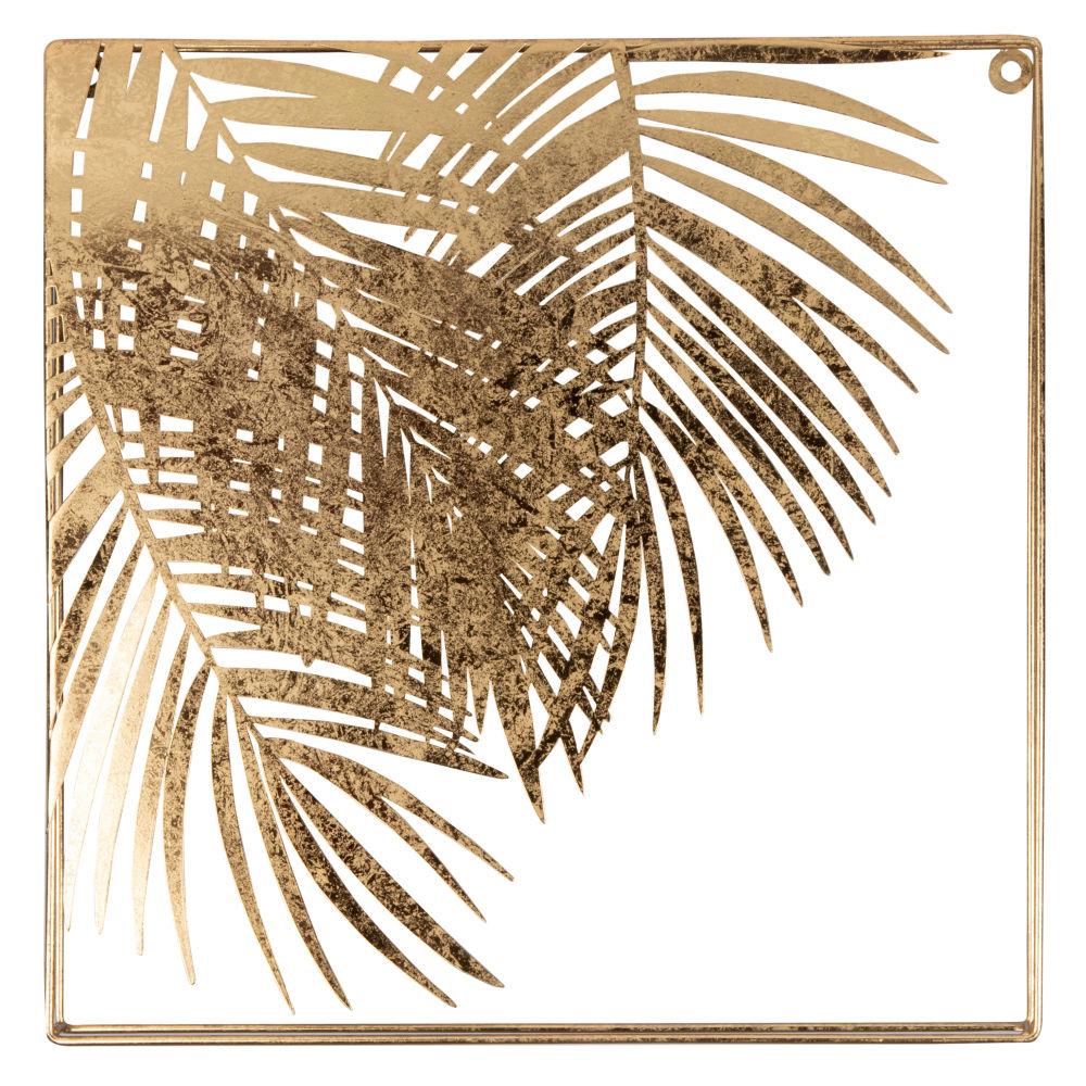 Déco murale feuilles de palmiers en métal doré 40x40 (photo)
