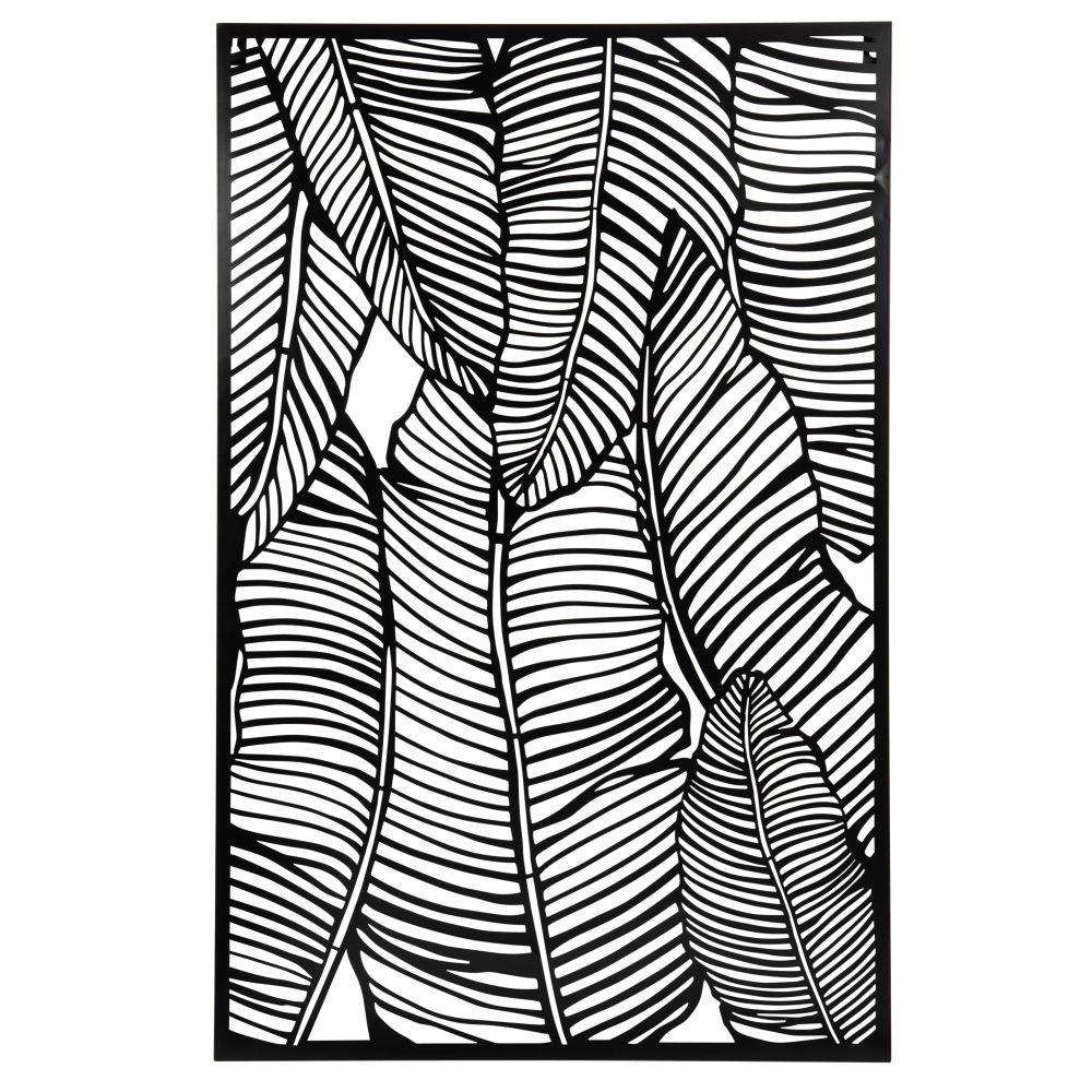 Déco murale feuilles en métal ajouré noir 58x87 (photo)