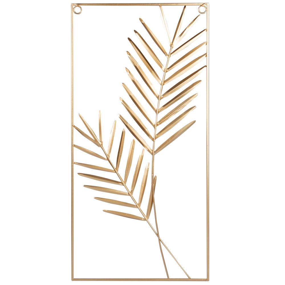 Déco murale feuilles en métal doré 25x50