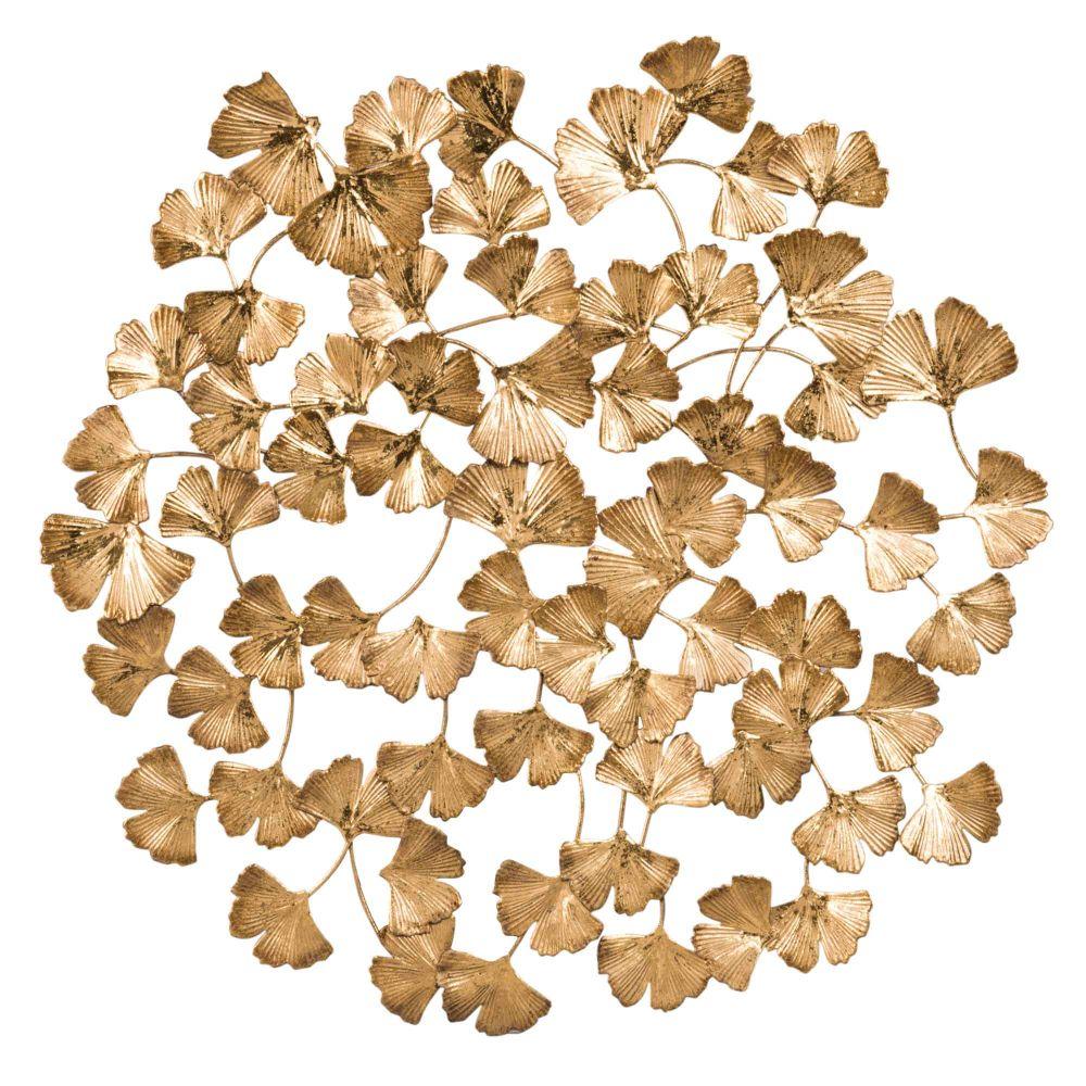 Déco murale feuilles en métal doré 45x45
