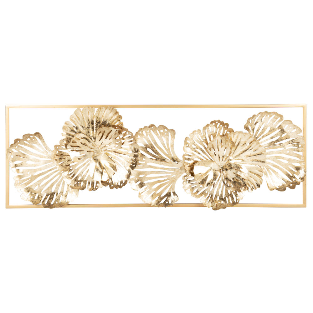 Déco murale fleurs en métal doré 31x90