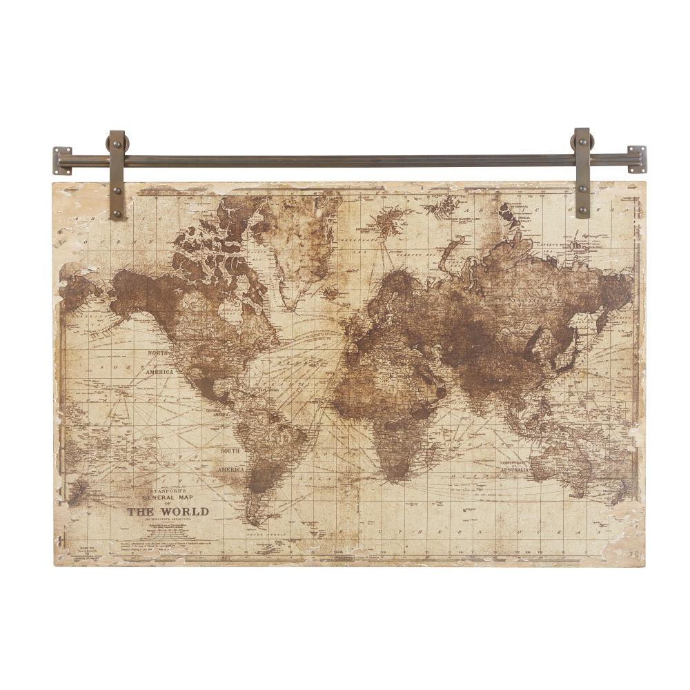 Déco murale imprimé carte du monde vieilli 121x91