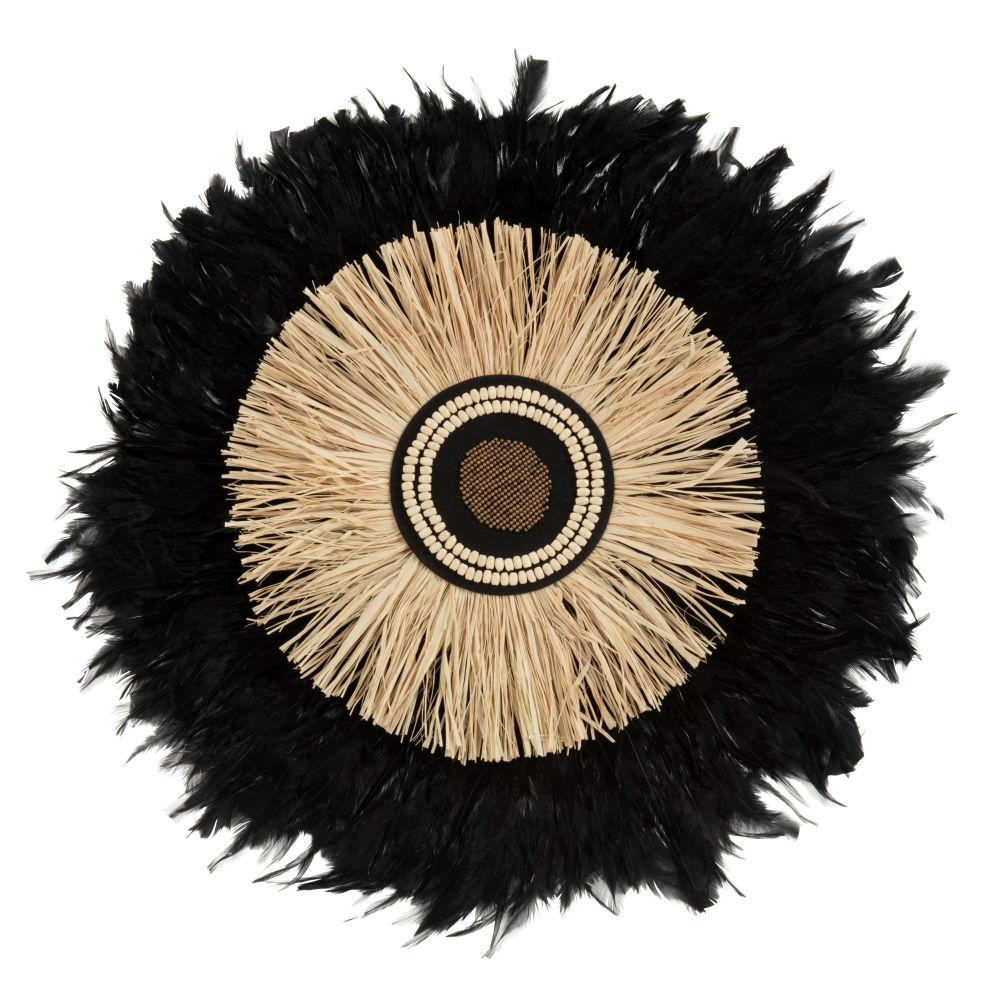 Déco murale juju hat en plumes noires et raphia D59