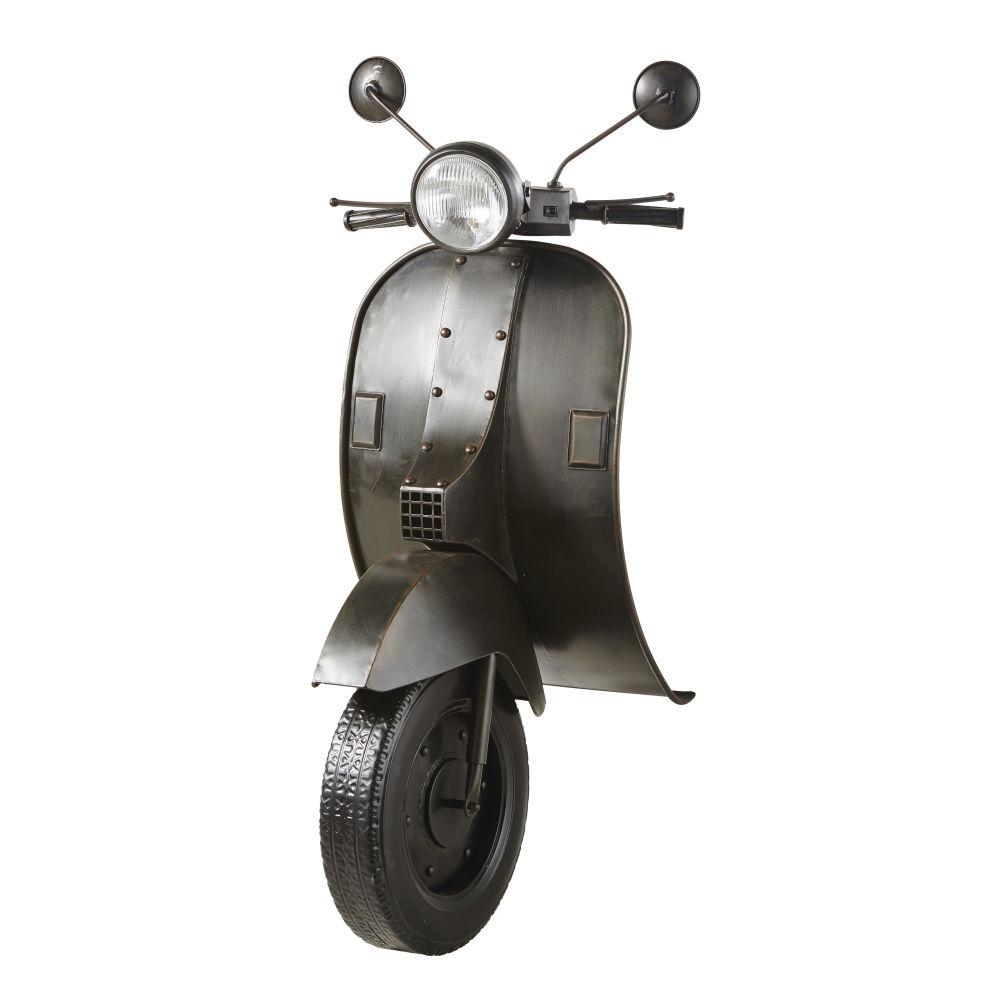 Déco murale lumineuse scooter en métal noir 53x123