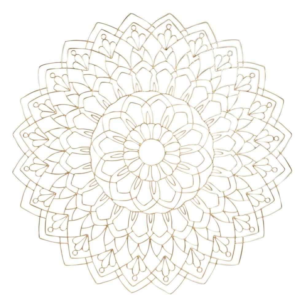 Déco murale mandala en fil de métal doré D80