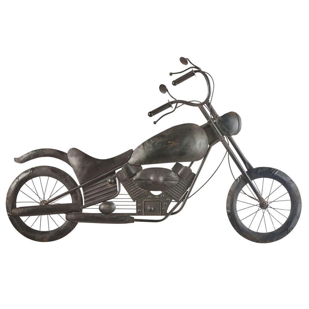 Déco murale moto en métal noir vieilli 102x66