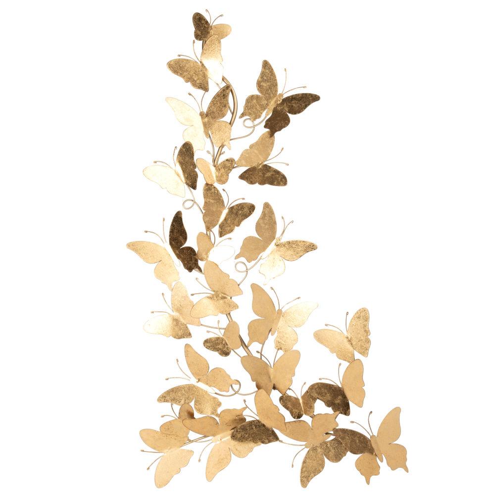 Déco murale papillons en métal doré 46x84