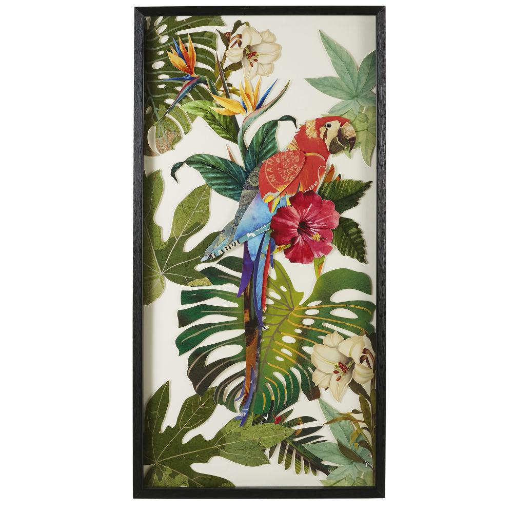 Déco murale perroquet en papier multicolore 50x100 (photo)