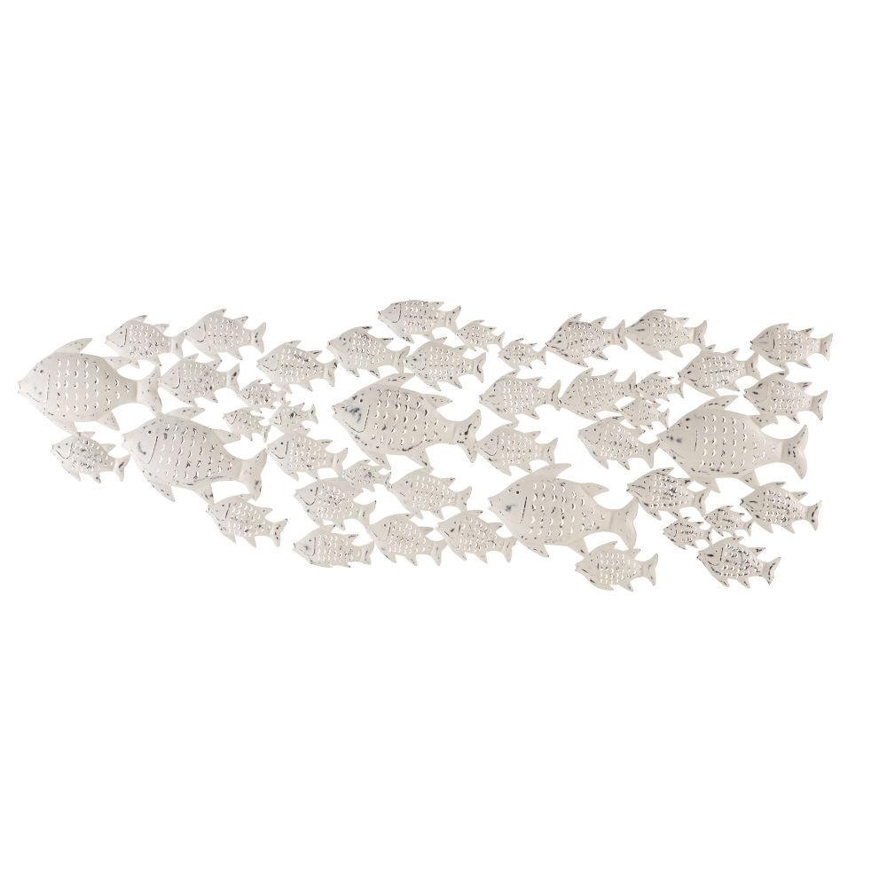 Déco murale poissons en métal effet vieilli 256x92