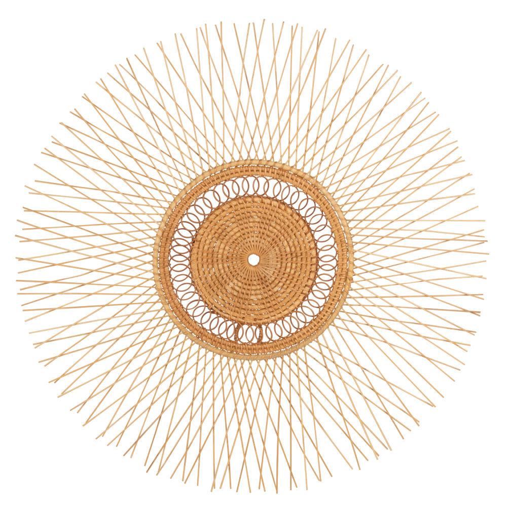 Déco murale ronde en bambou et rotin D56
