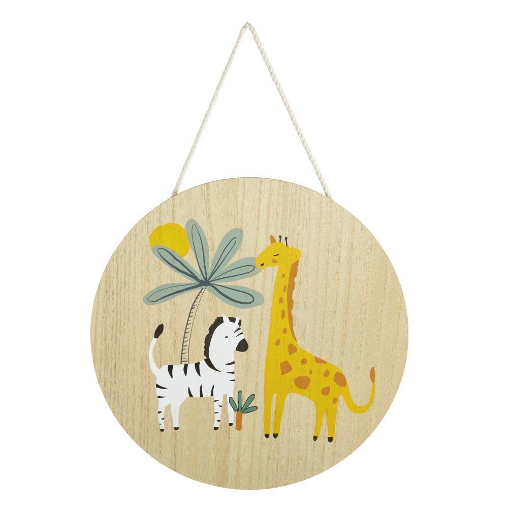 Déco murale ronde imprimé girafe et zèbre D35