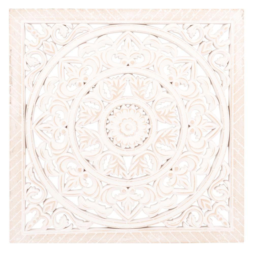 Déco murale sculpté blanche 40x40