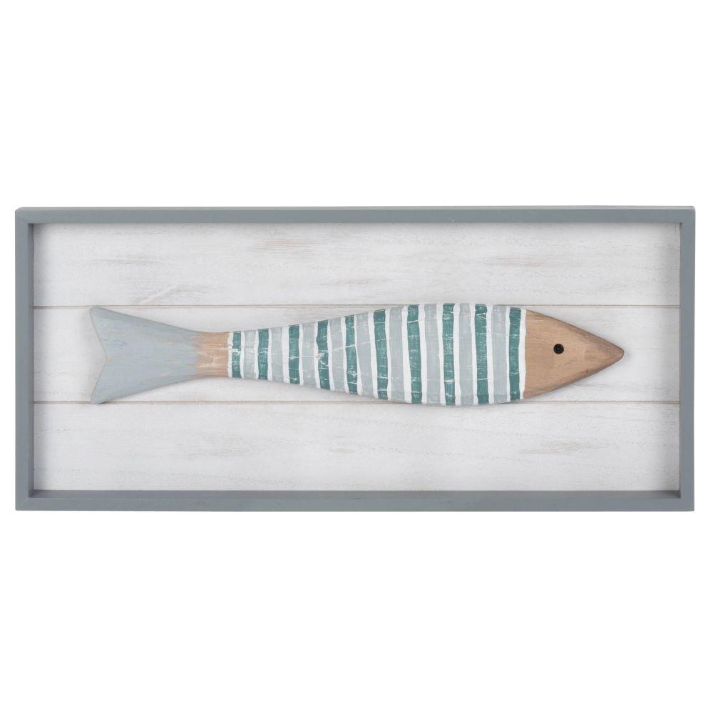 Déco murale tableau avec poisson multicolore 45x20 (photo)