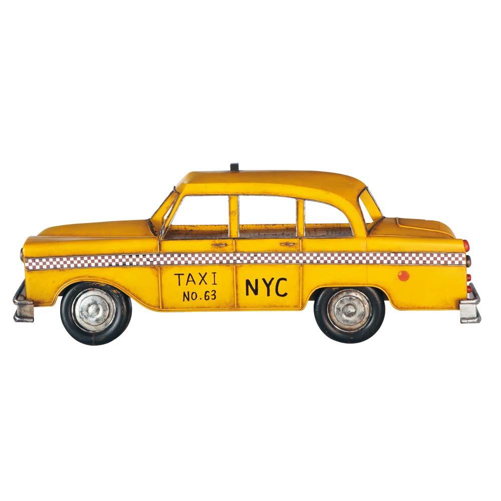 Déco murale taxi en métal jaune 12x33