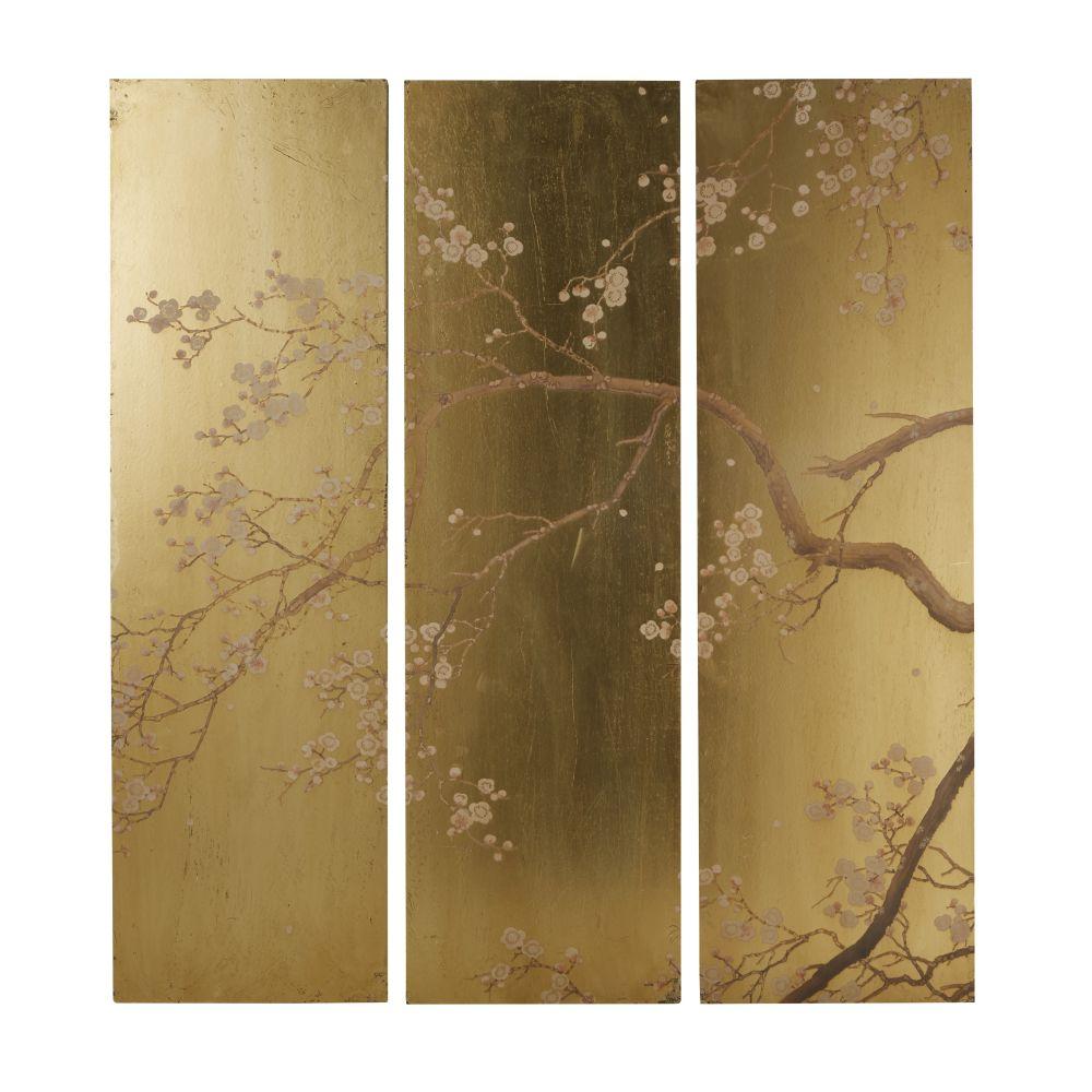 Déco murale triptyque doré imprimé floral108x120 (photo)