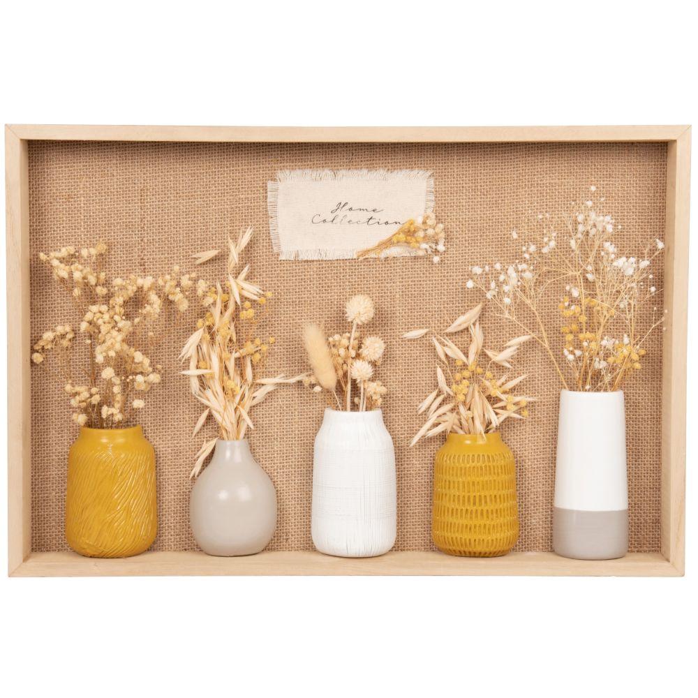 Déco murale vase et fleurs séchées 45x30