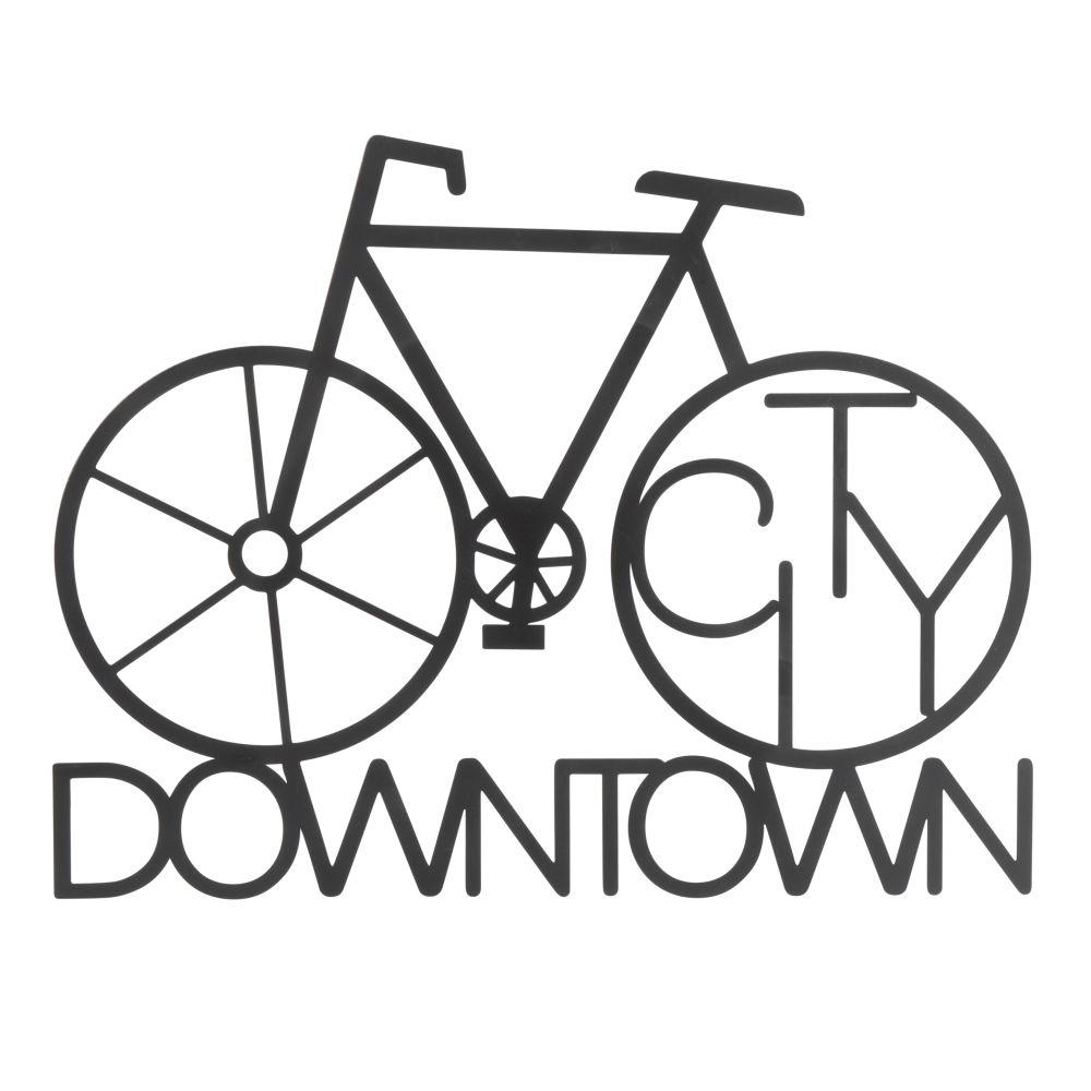 Déco murale vélo en métal noir 40x31