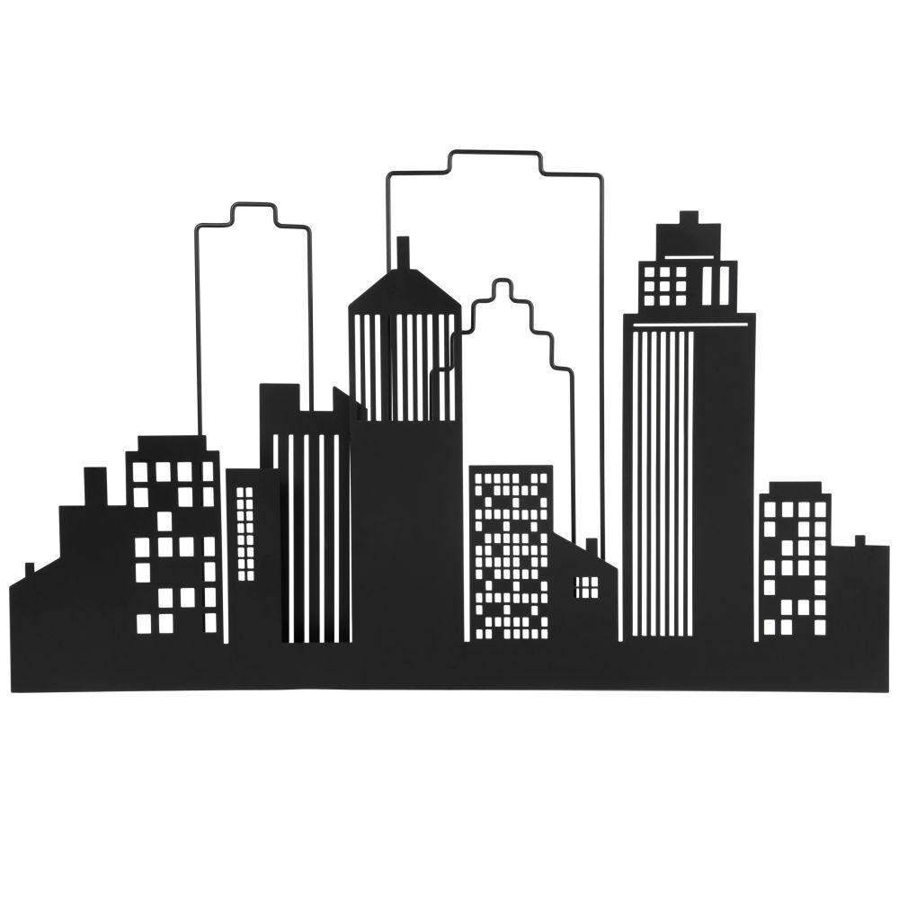 Déco murale ville en métal noir 70x44