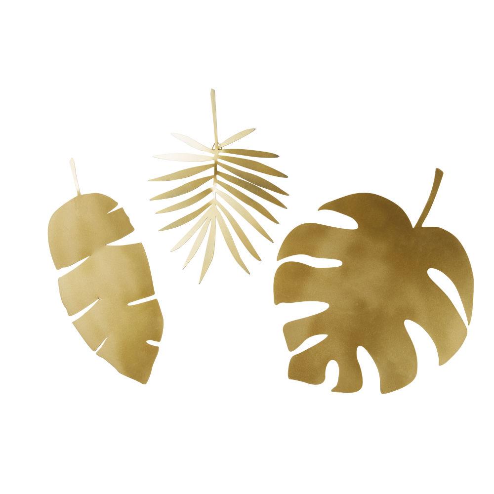 Déco murales feuilles en métal doré (x3)
