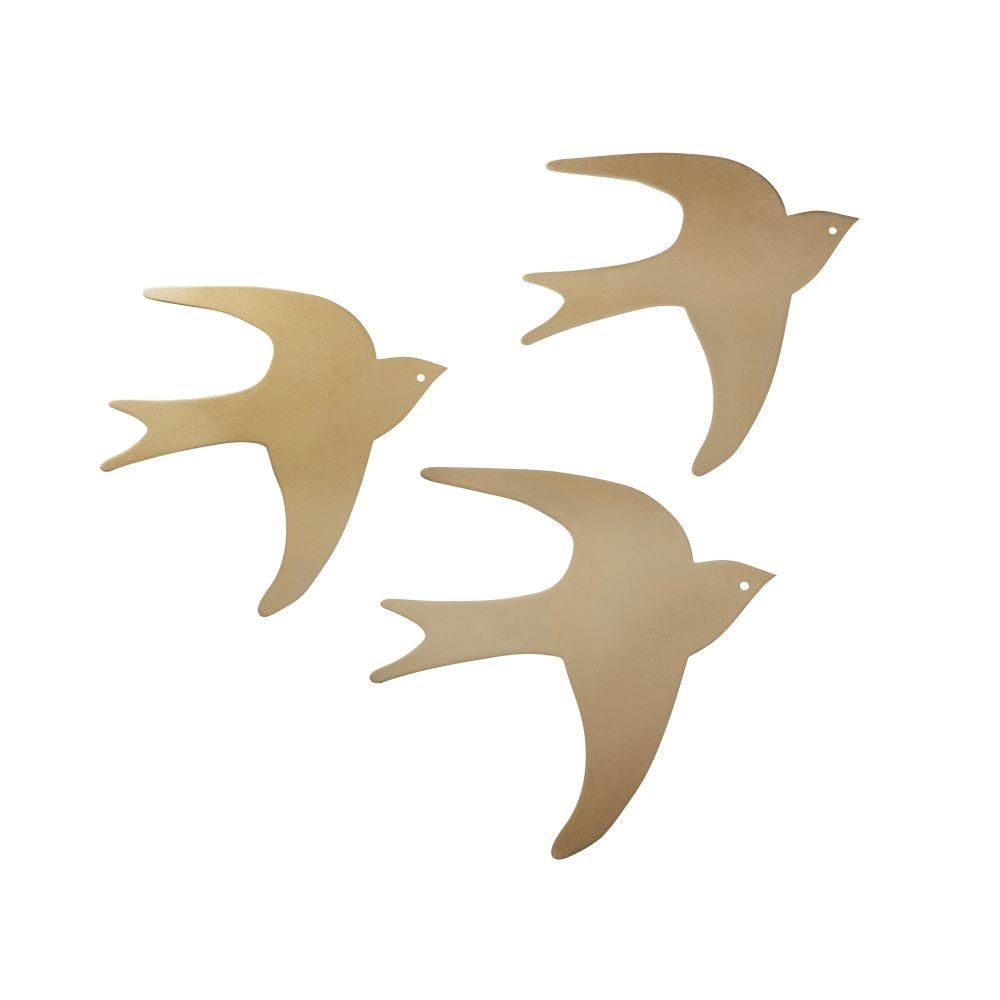 Déco murales oiseaux en métal doré (x3) 25x25