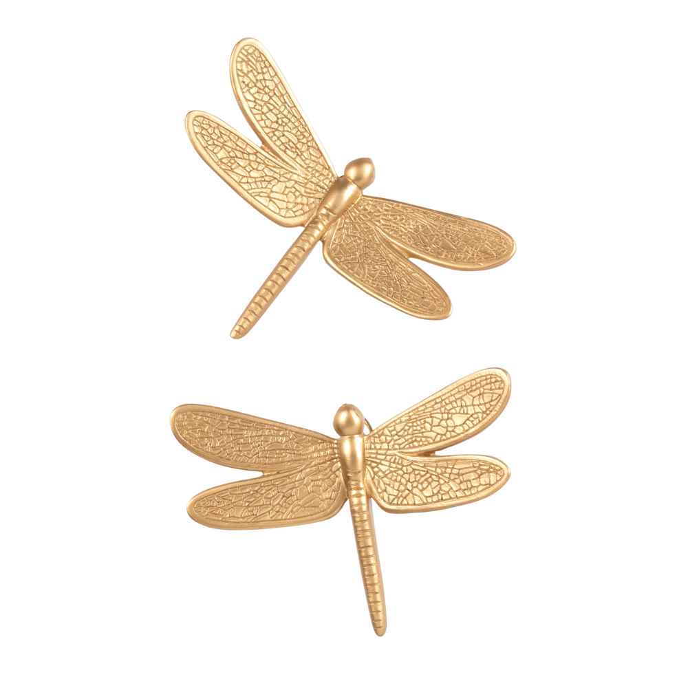 Decoraciones de pared libélulas doradas 10x14 (x2)
