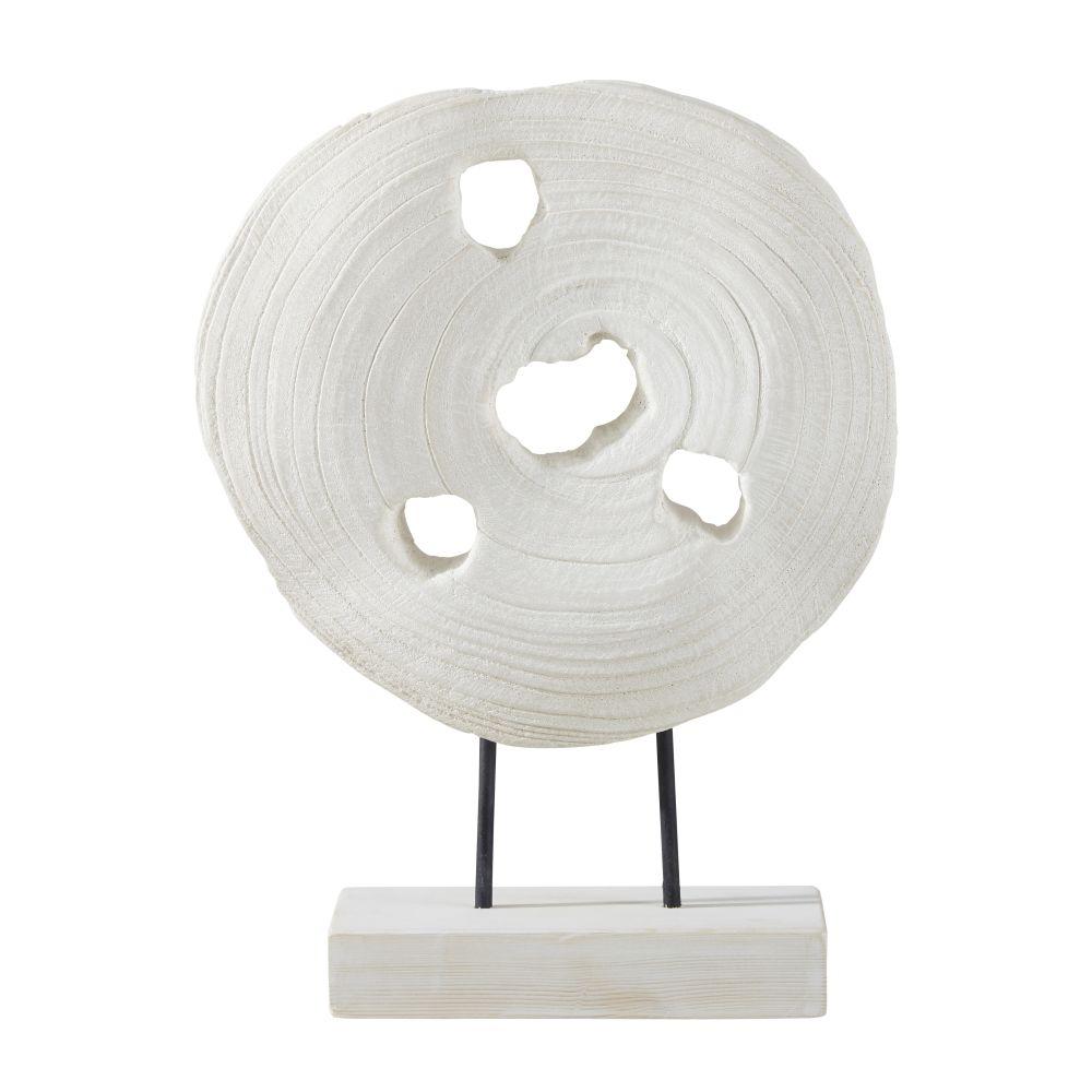 Decoratief Beeldje Van Wit Paulowniahout Met Voetstuk H37