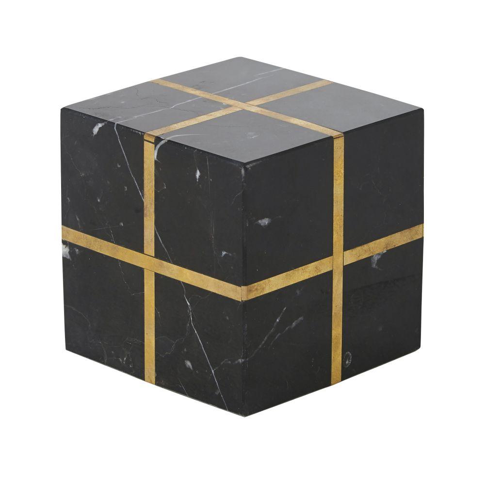 Decoratieve Kubus Uit Zwart Marmer Met Goudkleurige Lijnen 11 X 11 Cm