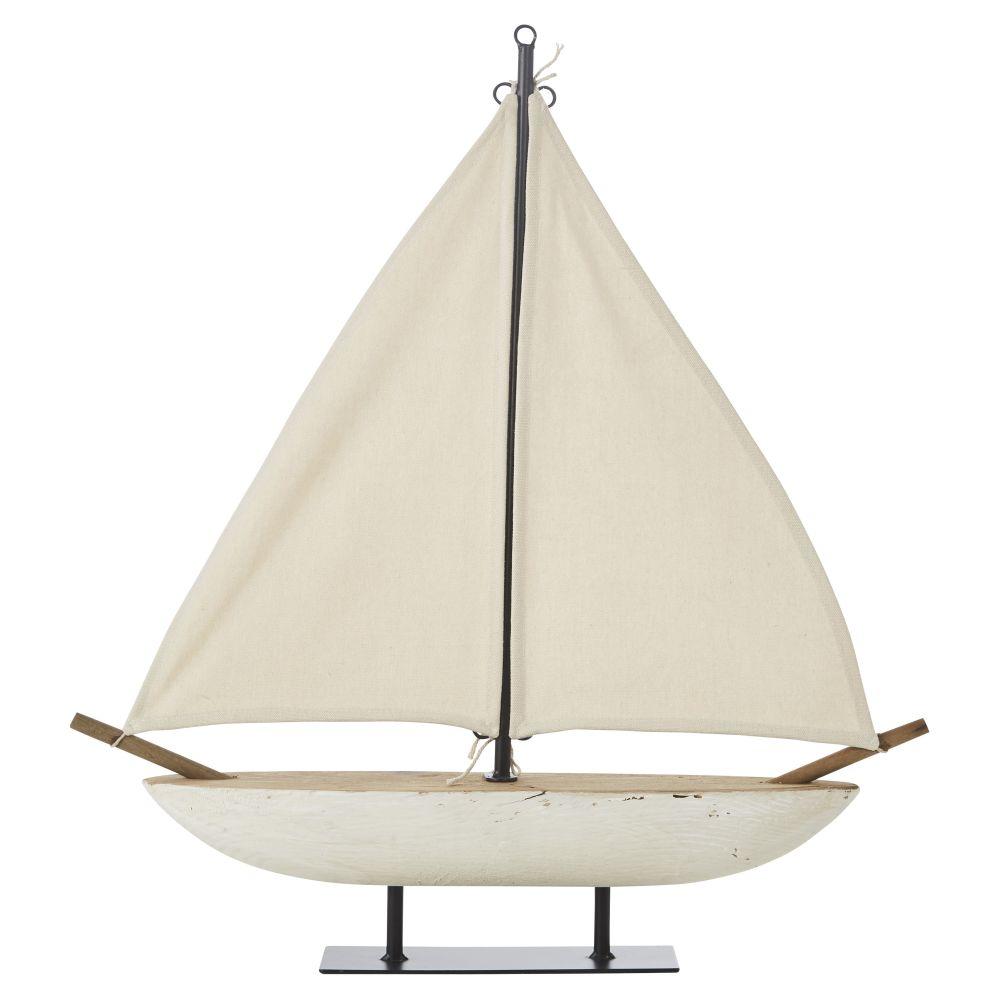 Decoratieve Zeilboot Uit Wit Gerecycleerd Hout H59