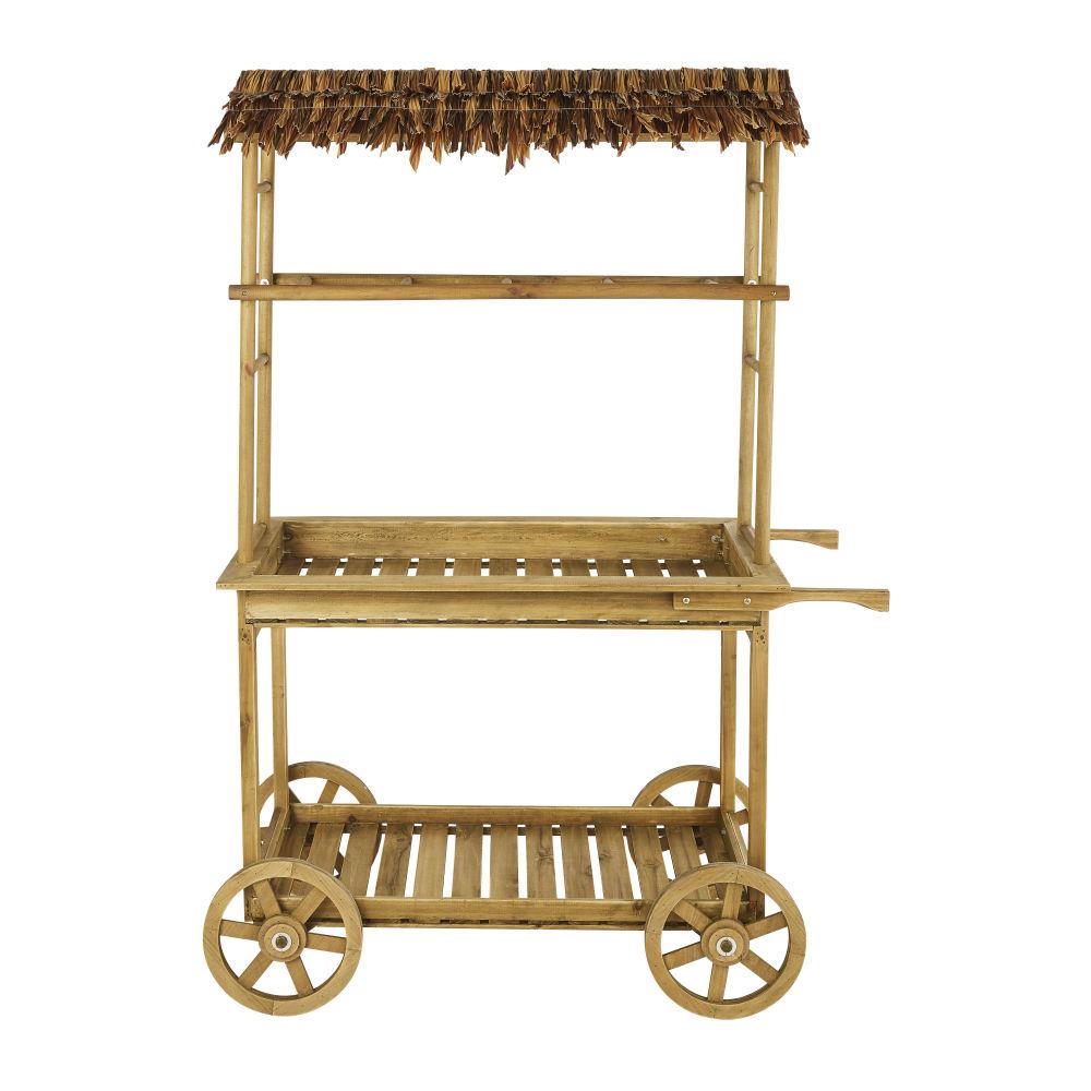 Desserte façon paillote de jardin en bambou et raphia à roulettes