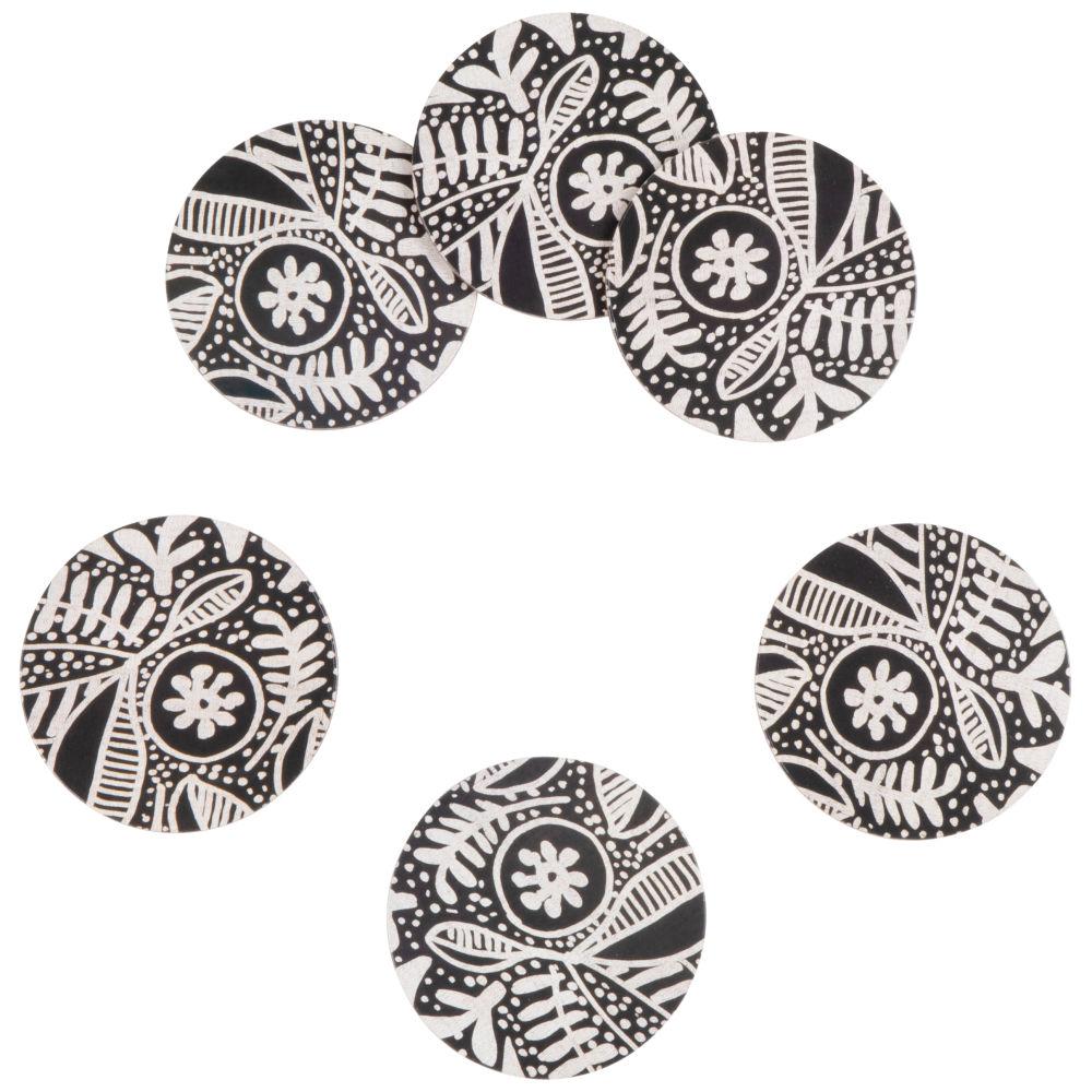 Dessous de verre motif végétal noir et blanc (x6)