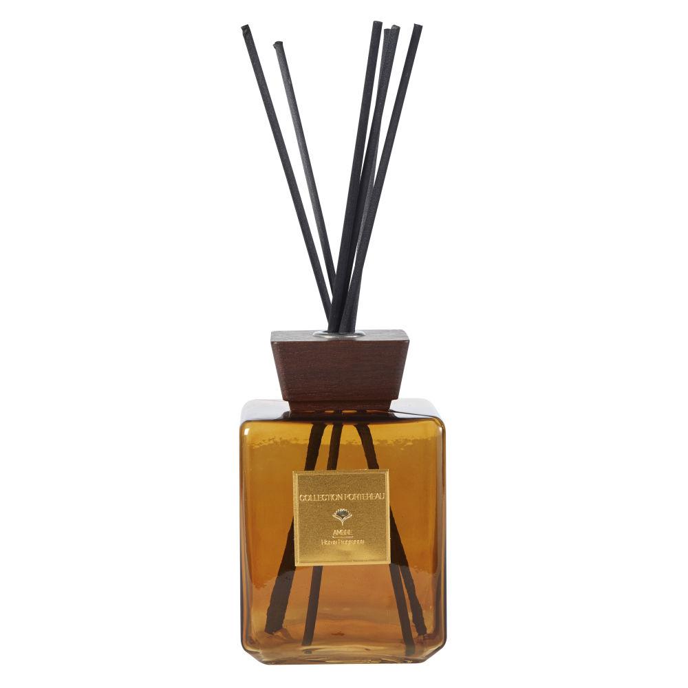Diffuseur de parfum en verre teinté ambre et noyer 1,5L