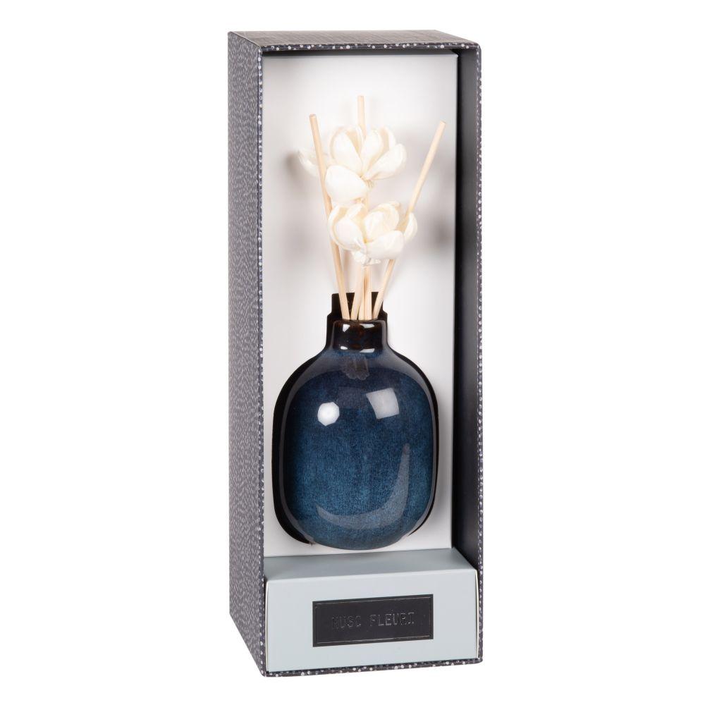 Diffuseur en céramique bleue ornements fleurs 100 ML