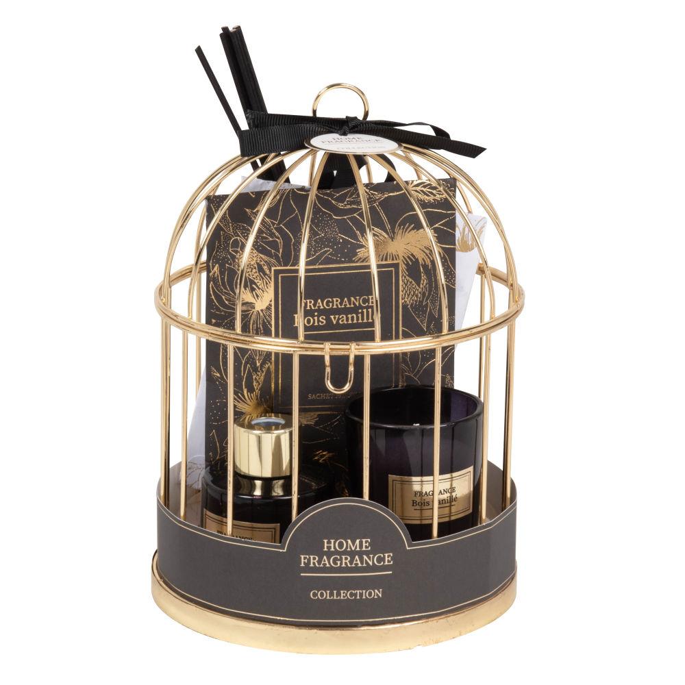 Diffuseur en verre, sachets et bougie parfumés support cage en métal doré