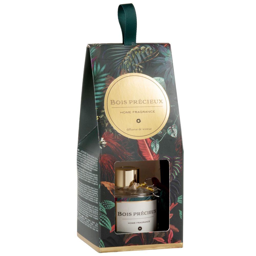 Diffuseur en verre vert, rouge et doré parfum bois précieux 50ML