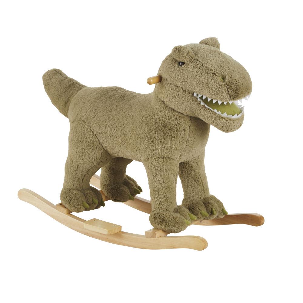 Dinosaure à bascule vert et pieds en peuplier