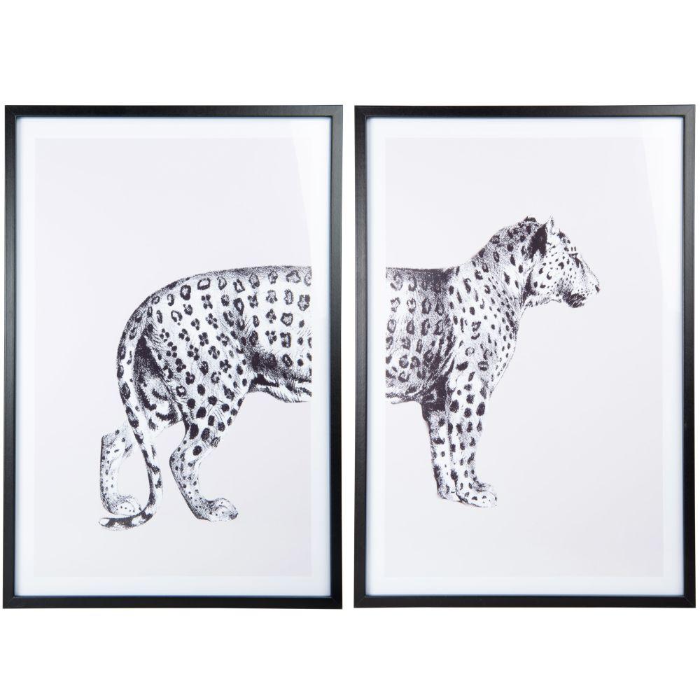 Diptyque imprimé léopard beige et noir 84x62