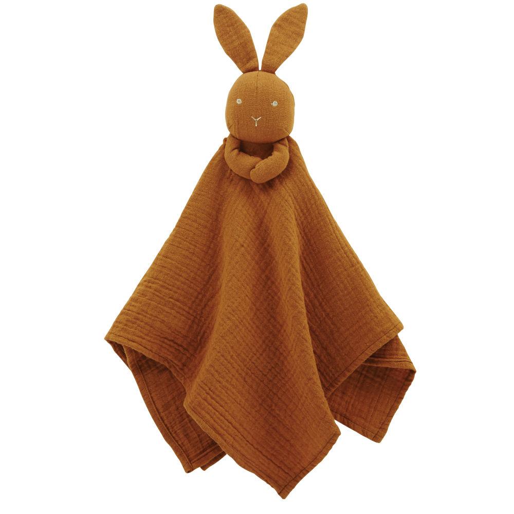 Doudou lange bébé écureuil en coton bio marron avec broderies dorées
