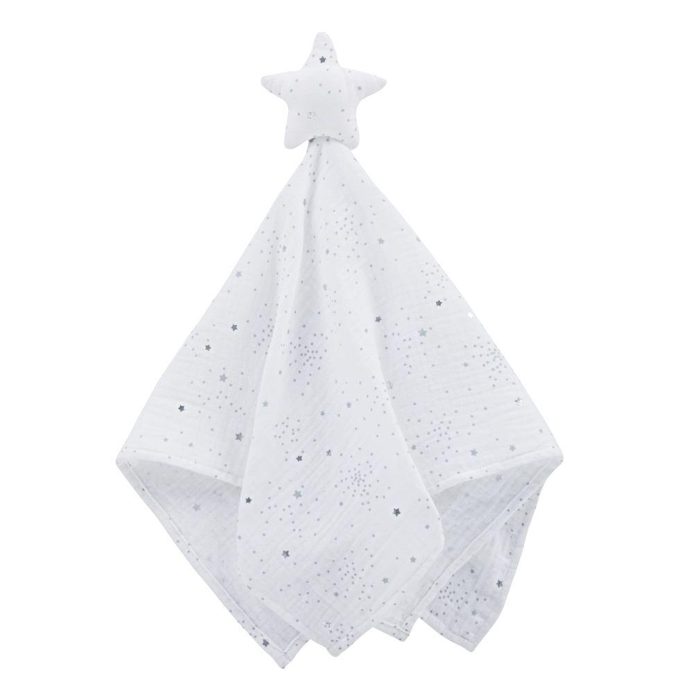 Doudou lange bébé étoile en coton bio blanc motifs argentés