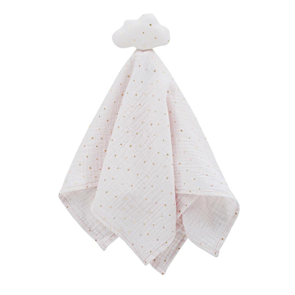 Doudou lange bébé nuage en coton bio blanc motifs argentés