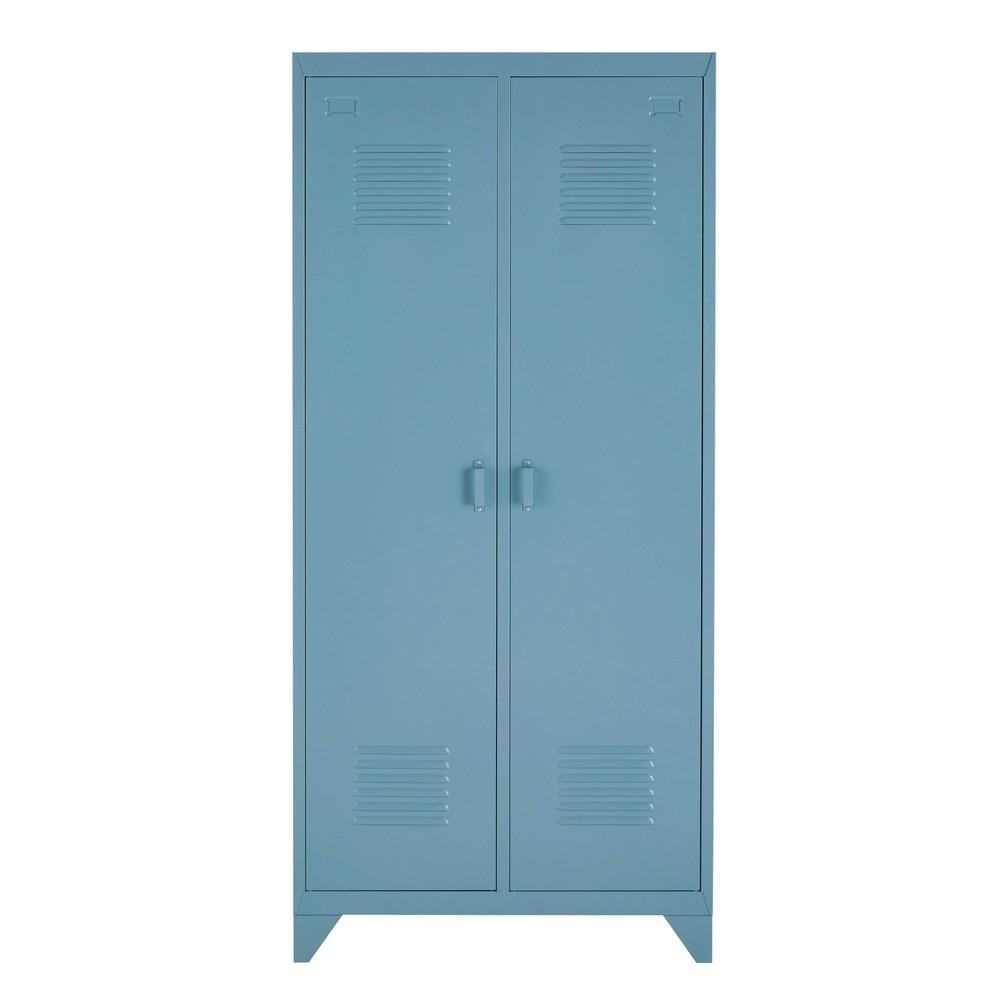 Dressing 2 portes en métal bleu gris