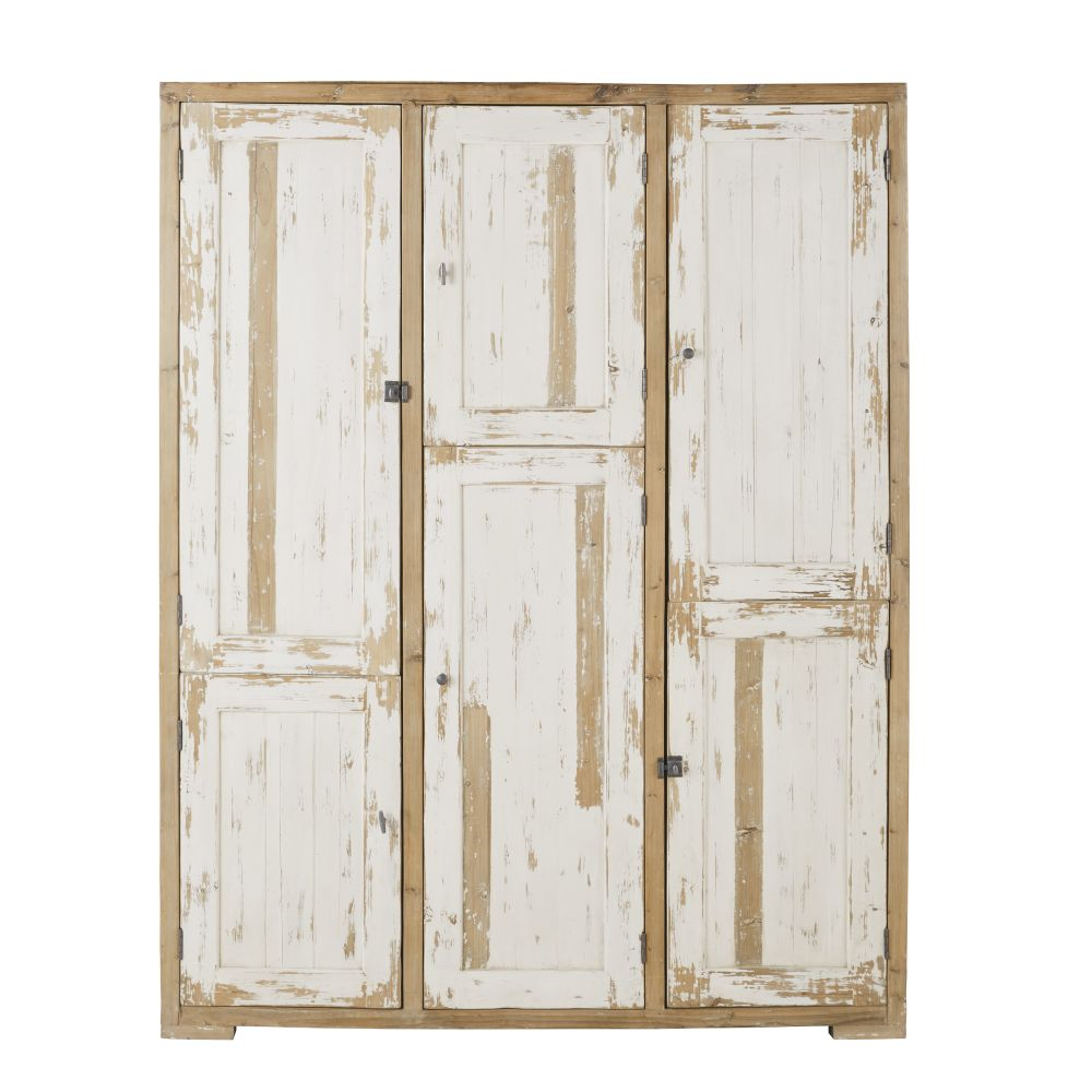 Dressing 6 portes en pin recyclé blanc patiné