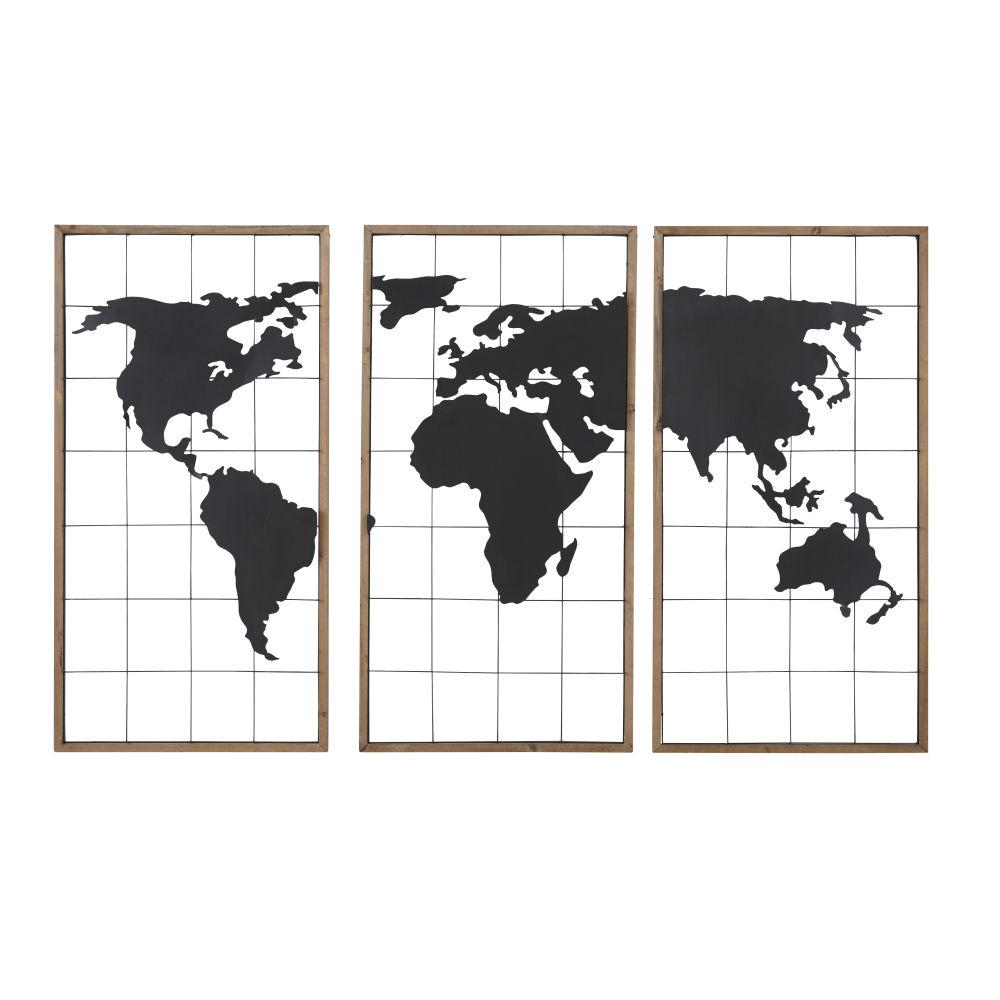 Drieluik Met Wereldkaart Van Zwart Metaal En Dennenhout 159x102