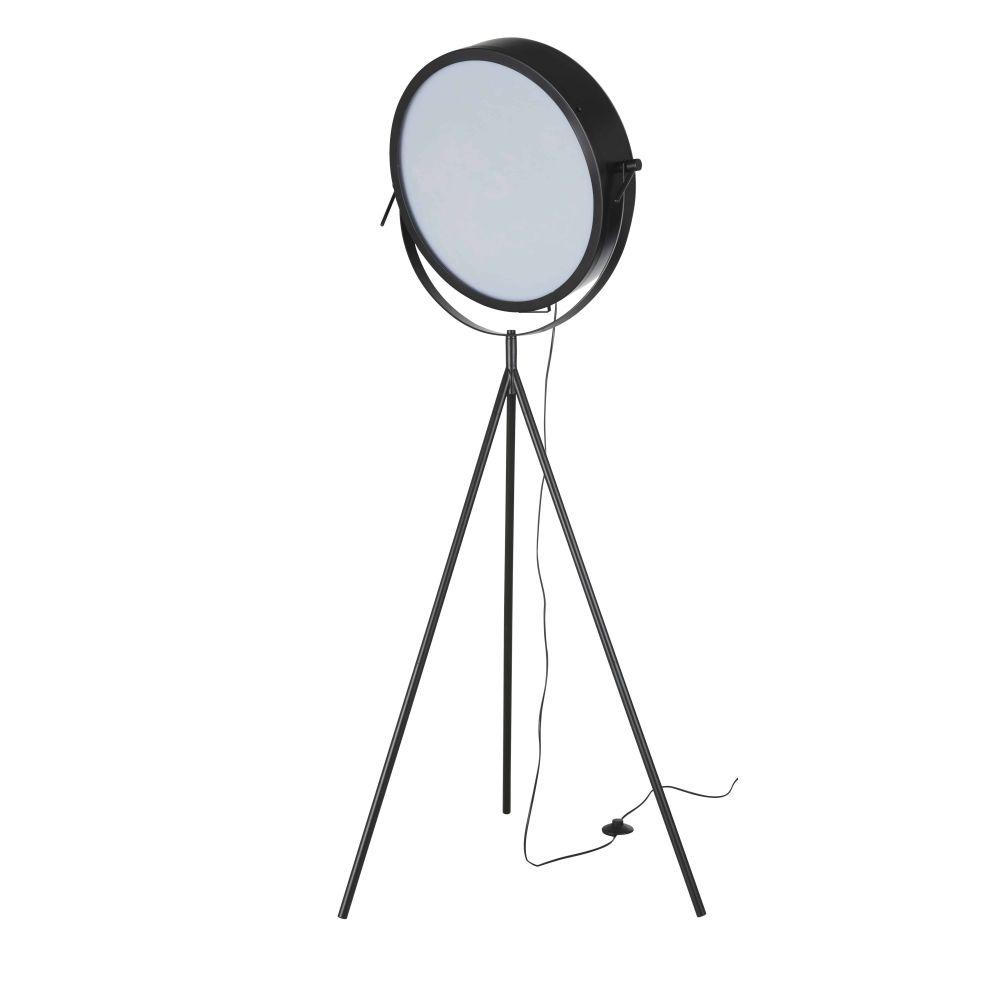 Driepotige Staande Lamp Uit Zwart Metaal Met Draaibare Lampenkap H166