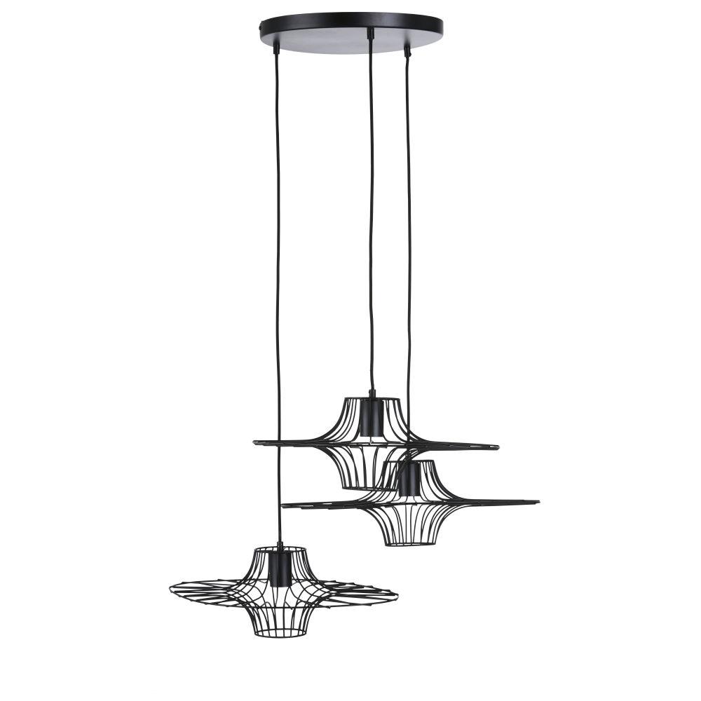 Drievoudige Hanglamp Uit Matzwart Draadmetaal
