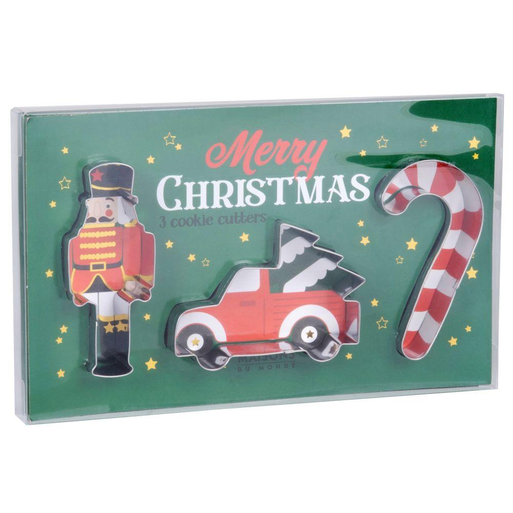 Emporte-pièces de Noël voiture, casse-noisette et sucre d'orge en métal argenté