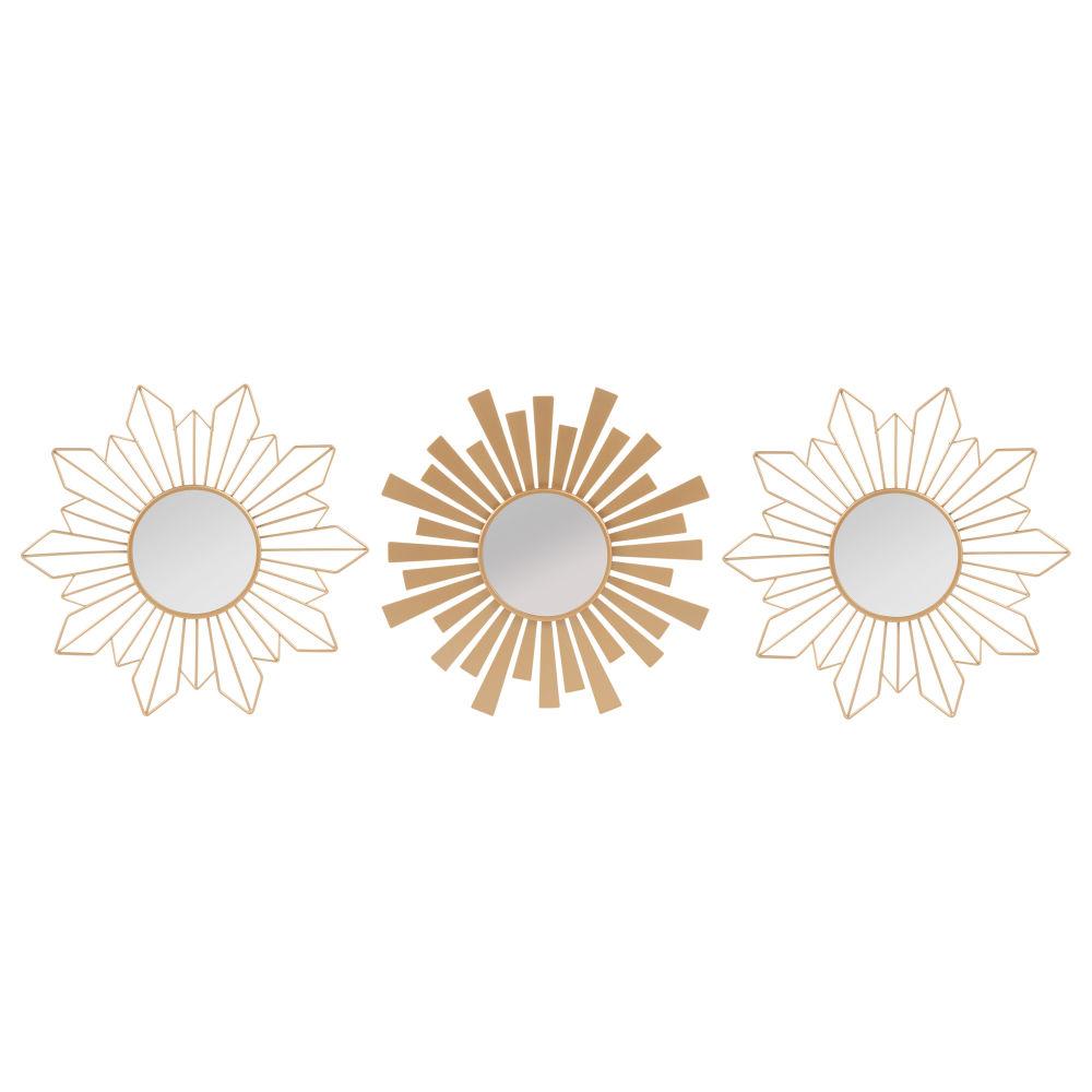Ensemble de 3 miroirs en métal doré mat D25