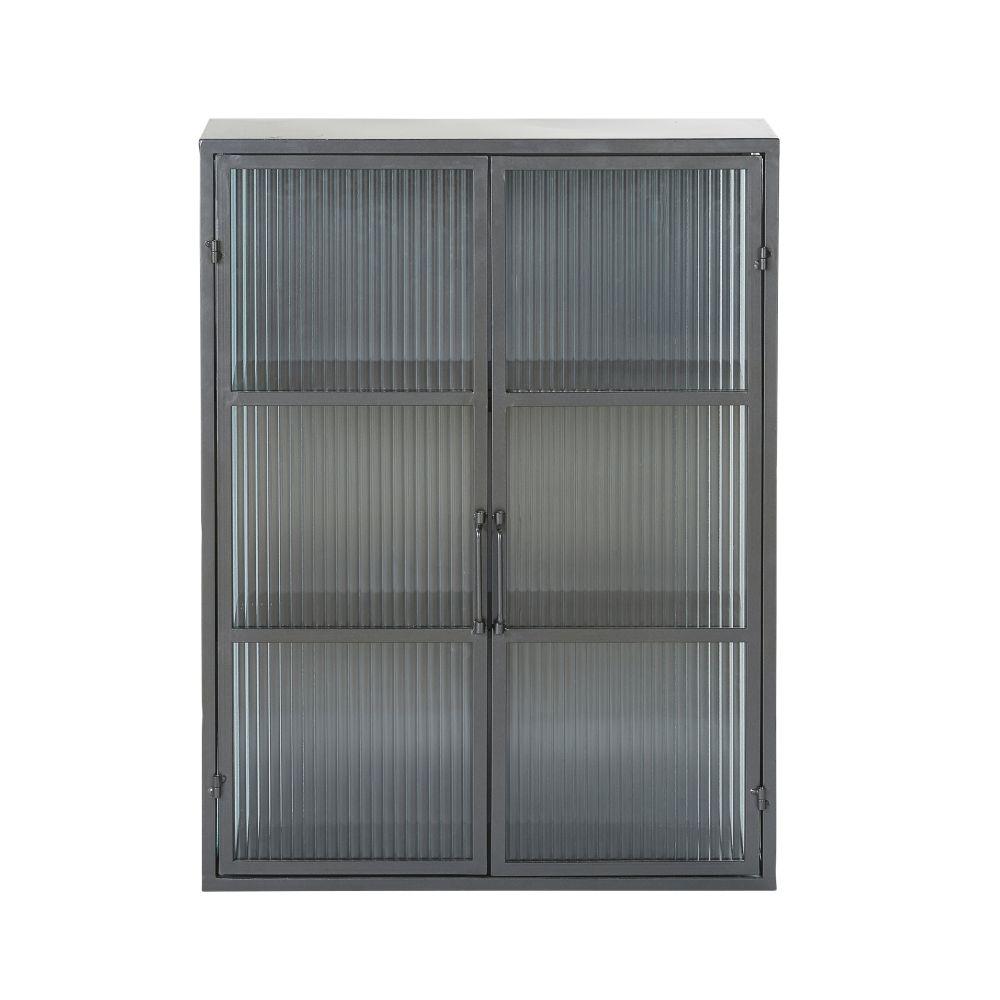 Etagère 2 portes en métal noir et verre armé